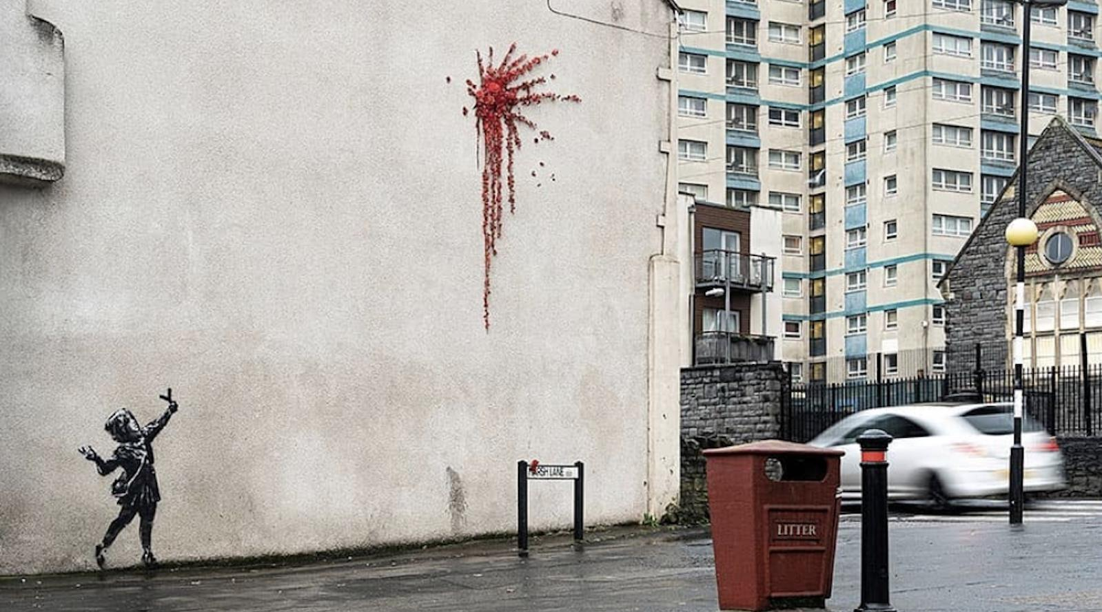 Banksy's Valentine's Day Mural in Bristol, UK