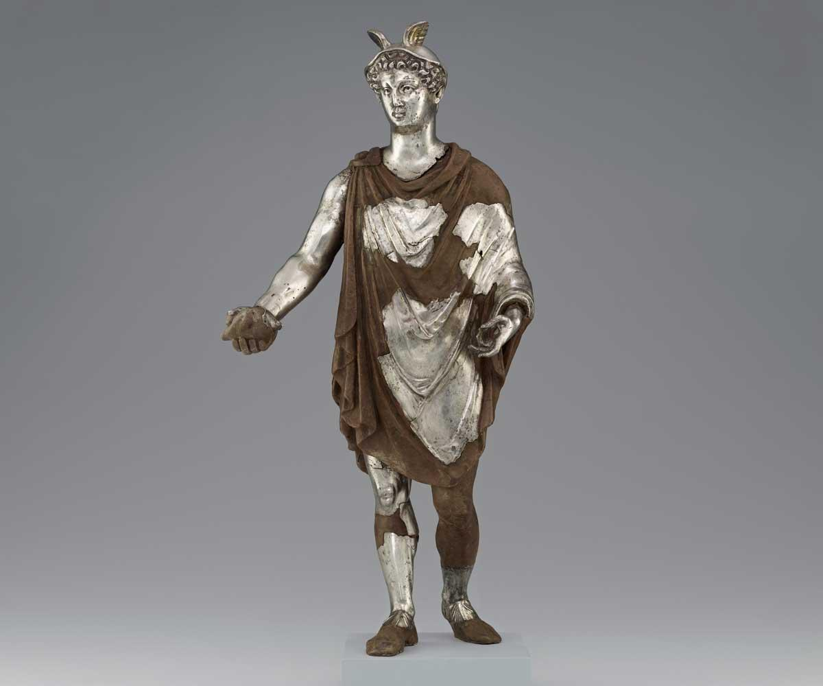 Statuette of Mercury with wax support.