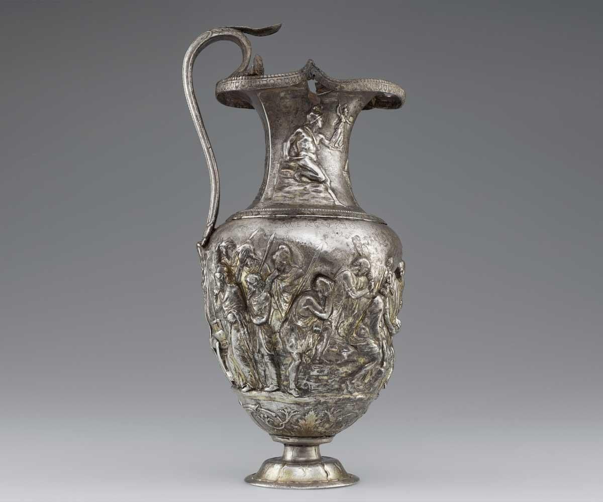 Pitcher with Scenes from the Trojan War of Achilles with Eight Greek Warriors