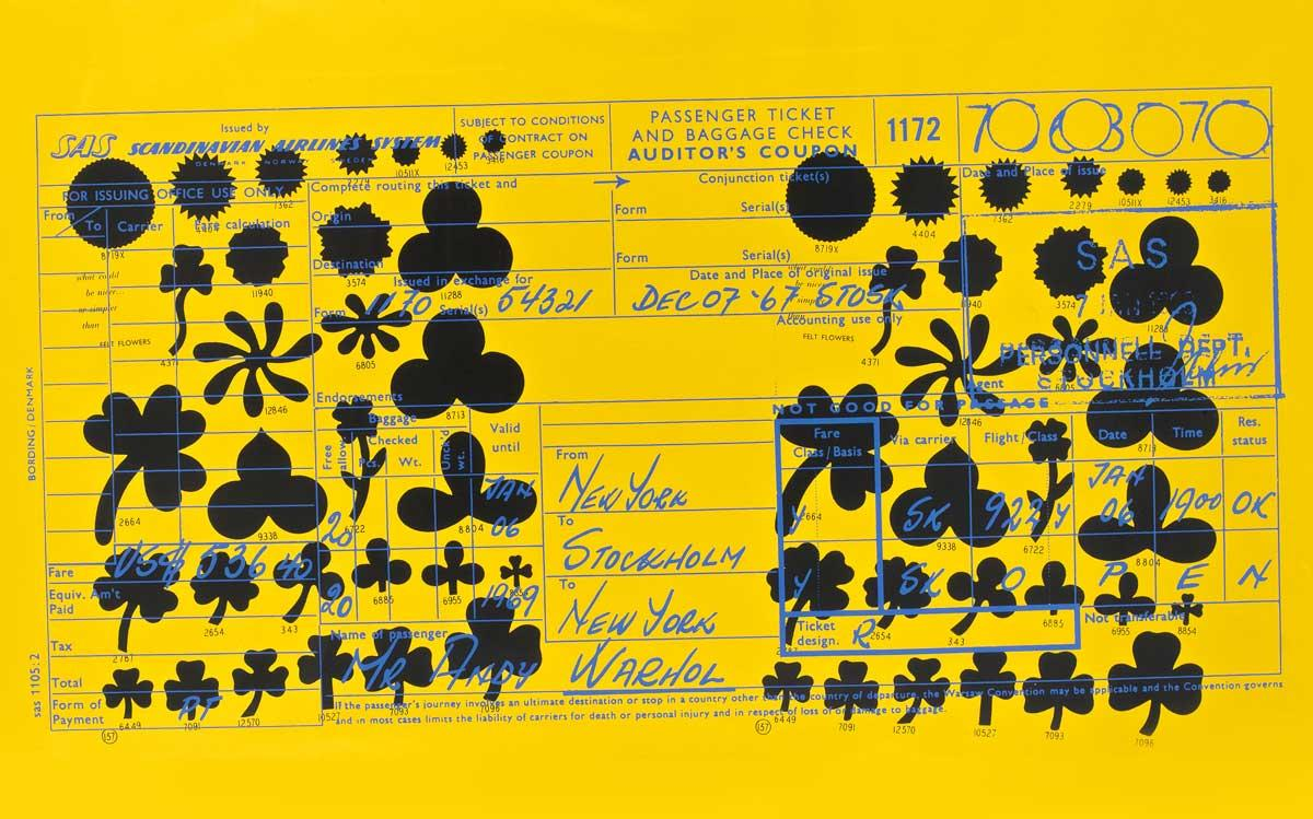 Andy Warhol, SAS Passenger Ticket, 1968, color print.