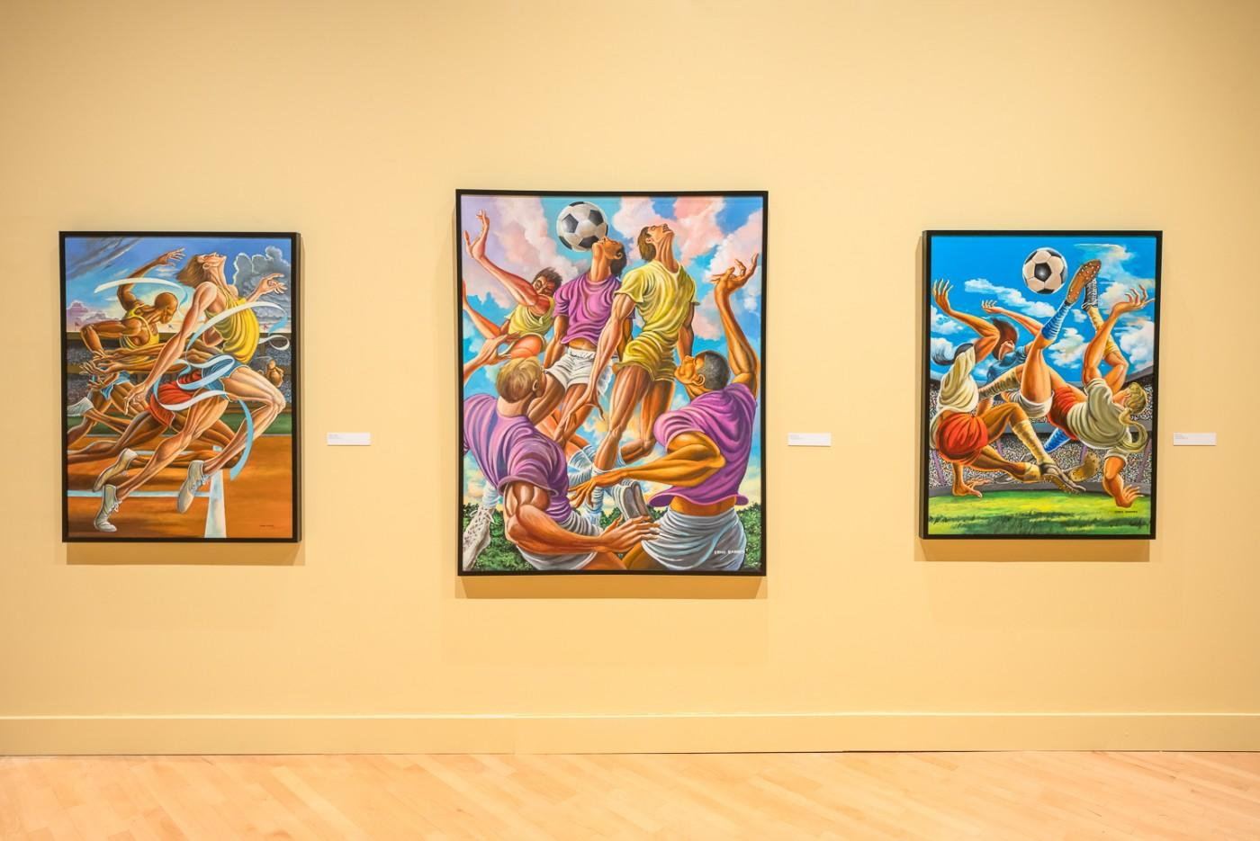 Ernie Barnes: A Retrospective, installation view, at the California African American Museum