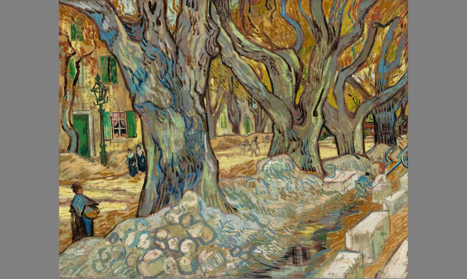Vincent van Gogh, The Large Plane Trees (Road Menders at Saint-Rémy), 1889. Oil on fabric.