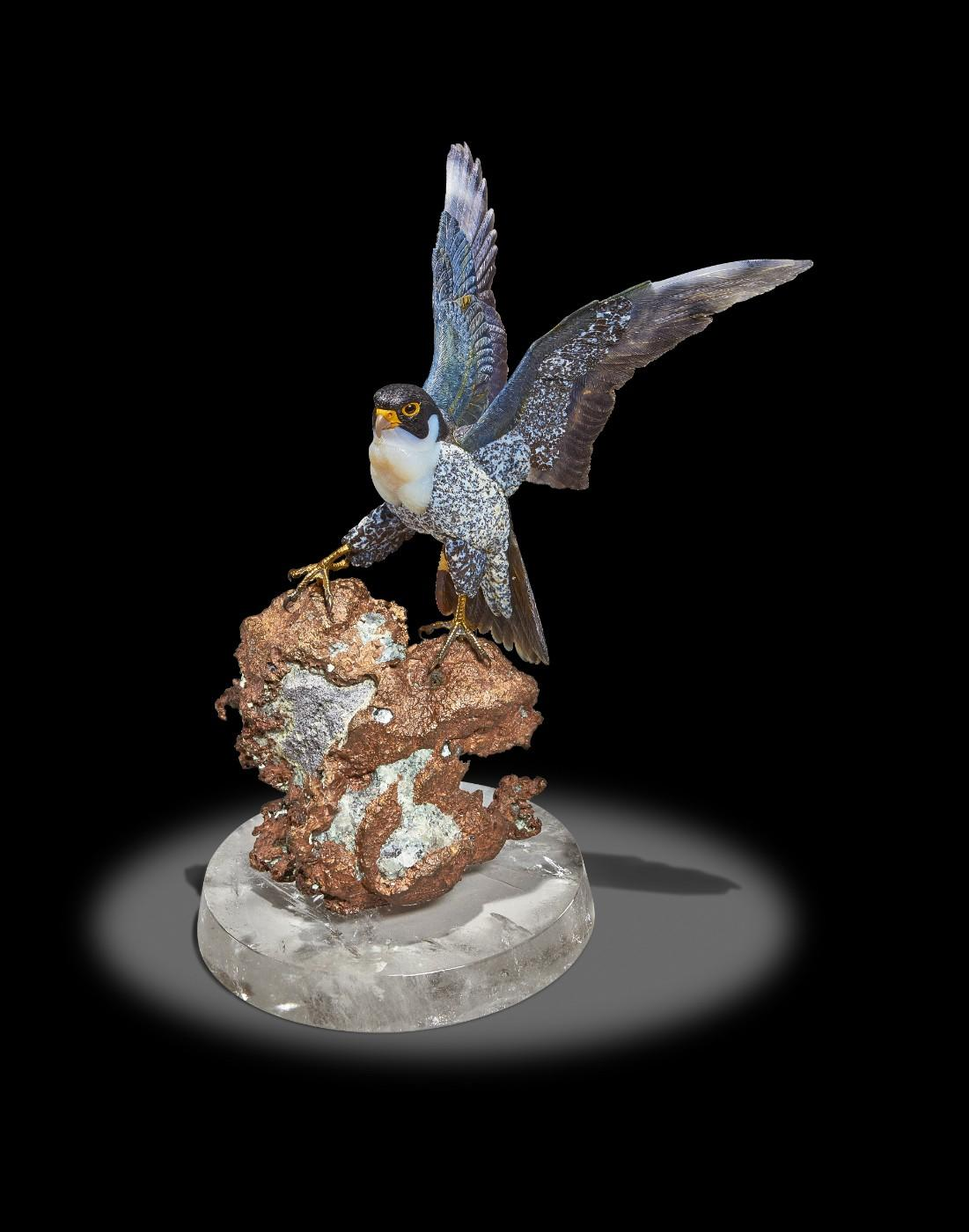 Carved Agate Falcon on Native Copper Base by Gerd Dreher, Idar-Oberstein, Germany (estimate: $15,000-25,000)