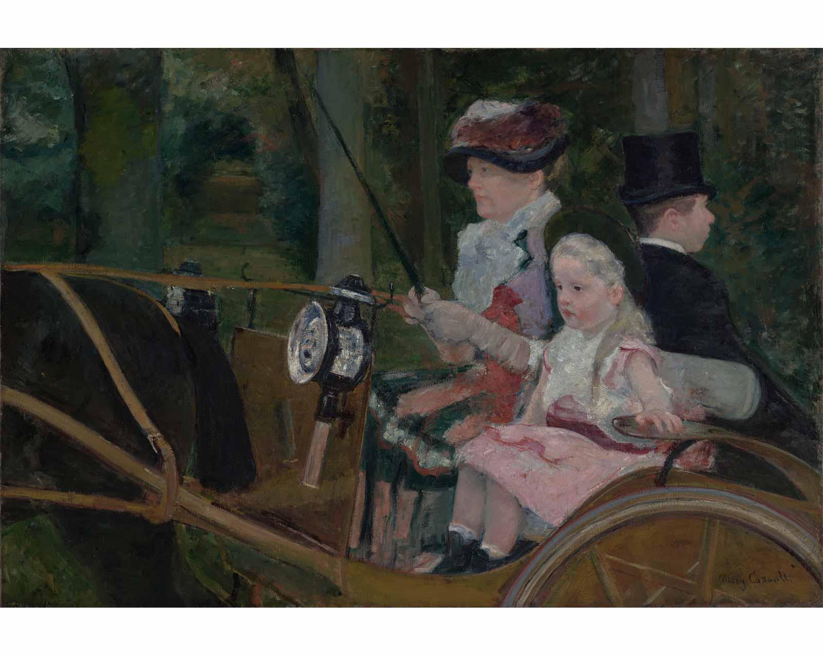 A Woman and a Girl Driving, by Mary Stevenson Cassatt, 1881