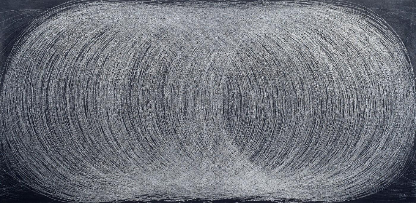 Leslie Parke, Conversations with Giotto, Silver pencil, chalk, chalkboard paint on canvas
