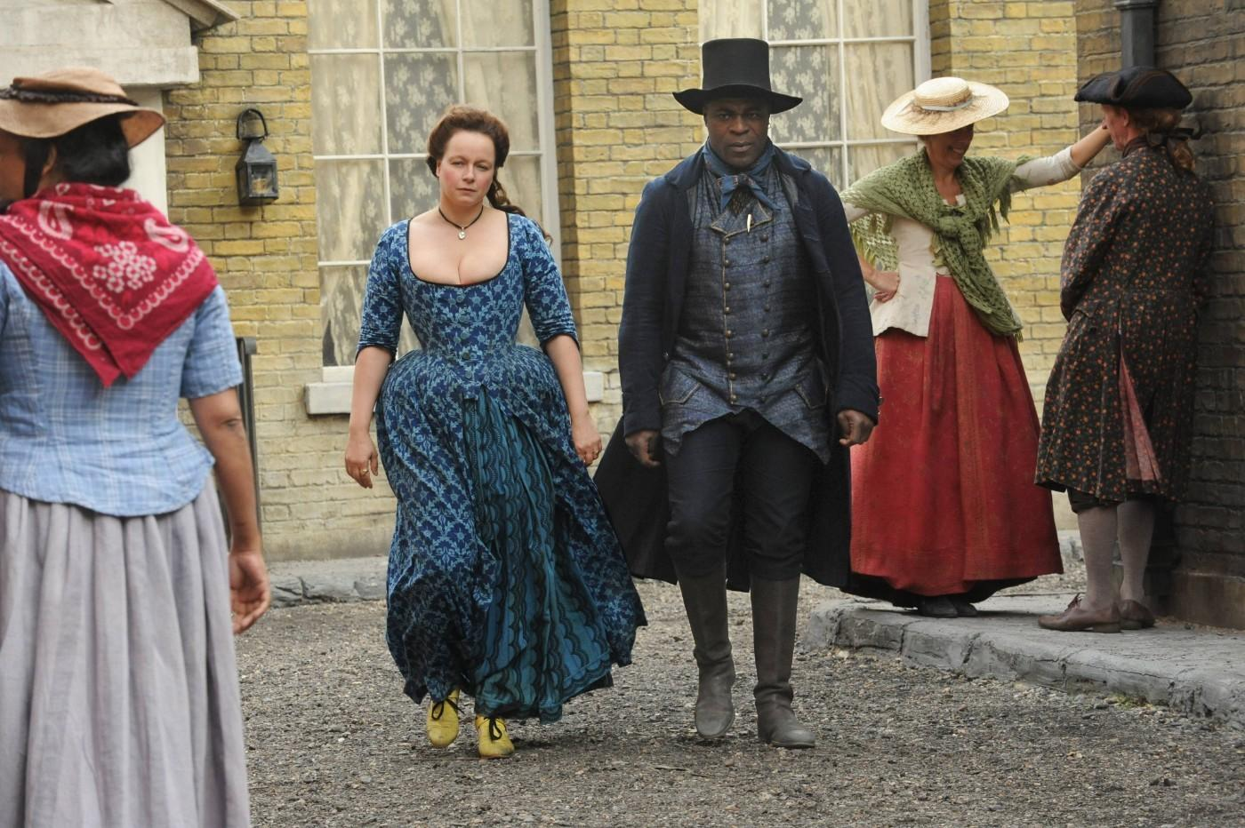 Samantha Morton (Margaret Wells) and Her Partner, William North (Danny Sapani), Harlots Episode 103, Costumes by Edward Gibbon