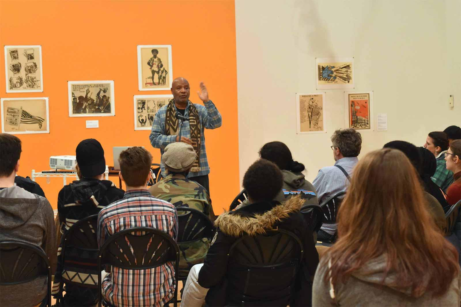 Emory Douglas in conversation with students at the Denison Museum, 2018.