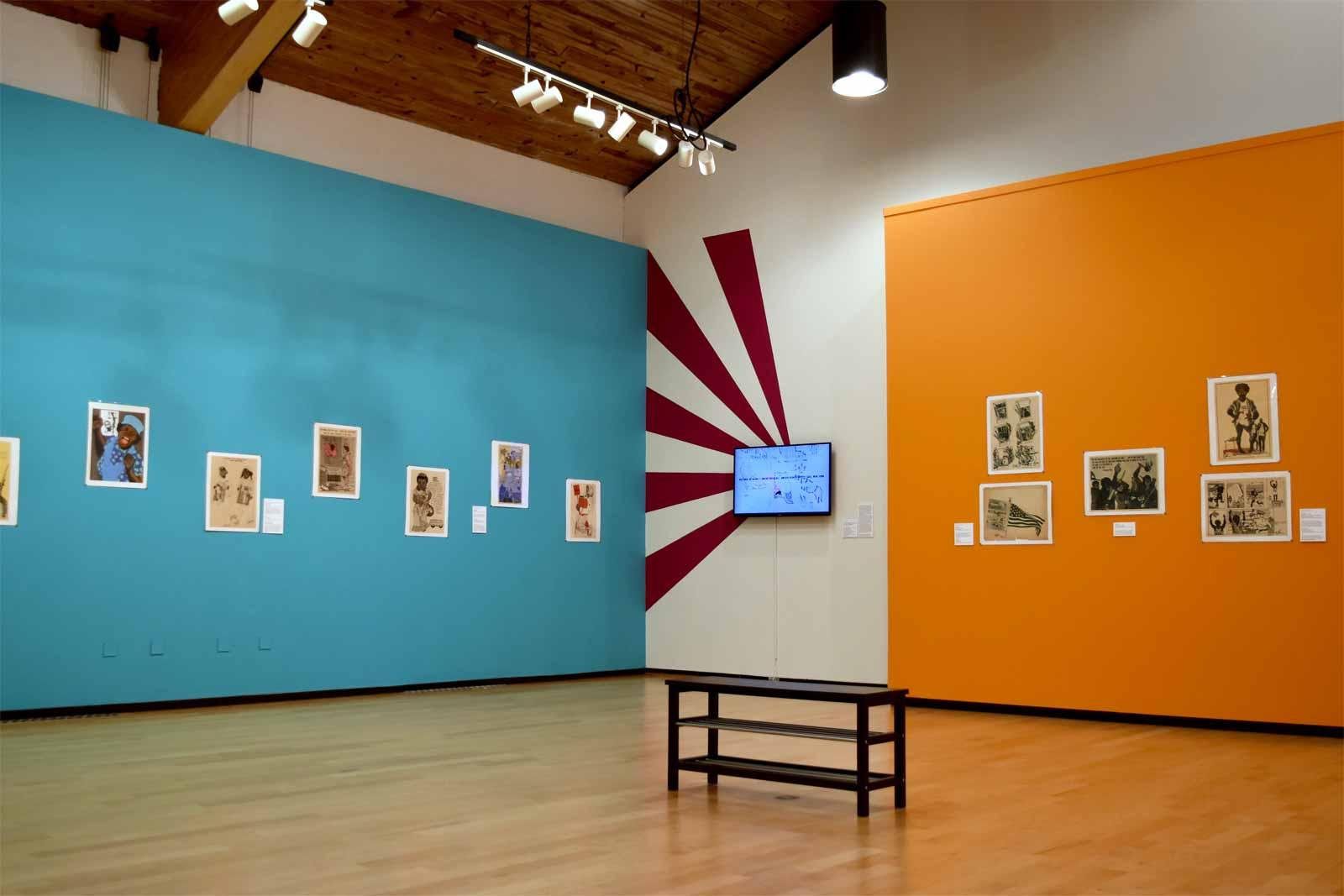 Installation view, Emory Douglas: Revolutionary Artist of the Black Panthers at the Denison Museum