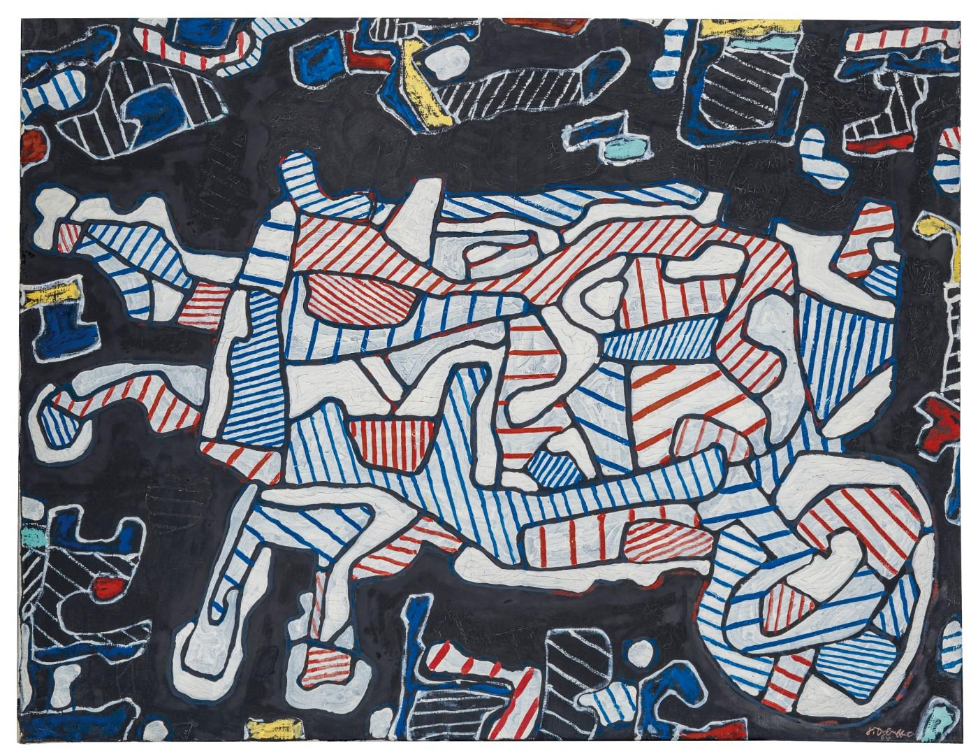 Jean Dubuffet (1901-1985), La Brouette (The Wheelbarrow), signed and dated 'J. Dubuffet 64' (lower right), oil on canvas