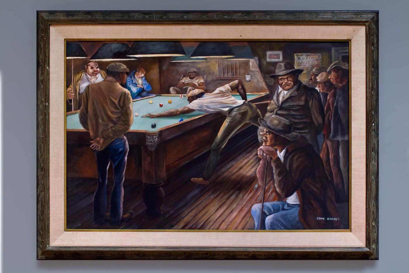 Ernie Barnes, Pool Hall, c. 1970. Oil on canvas. Collection of California African American Museum.