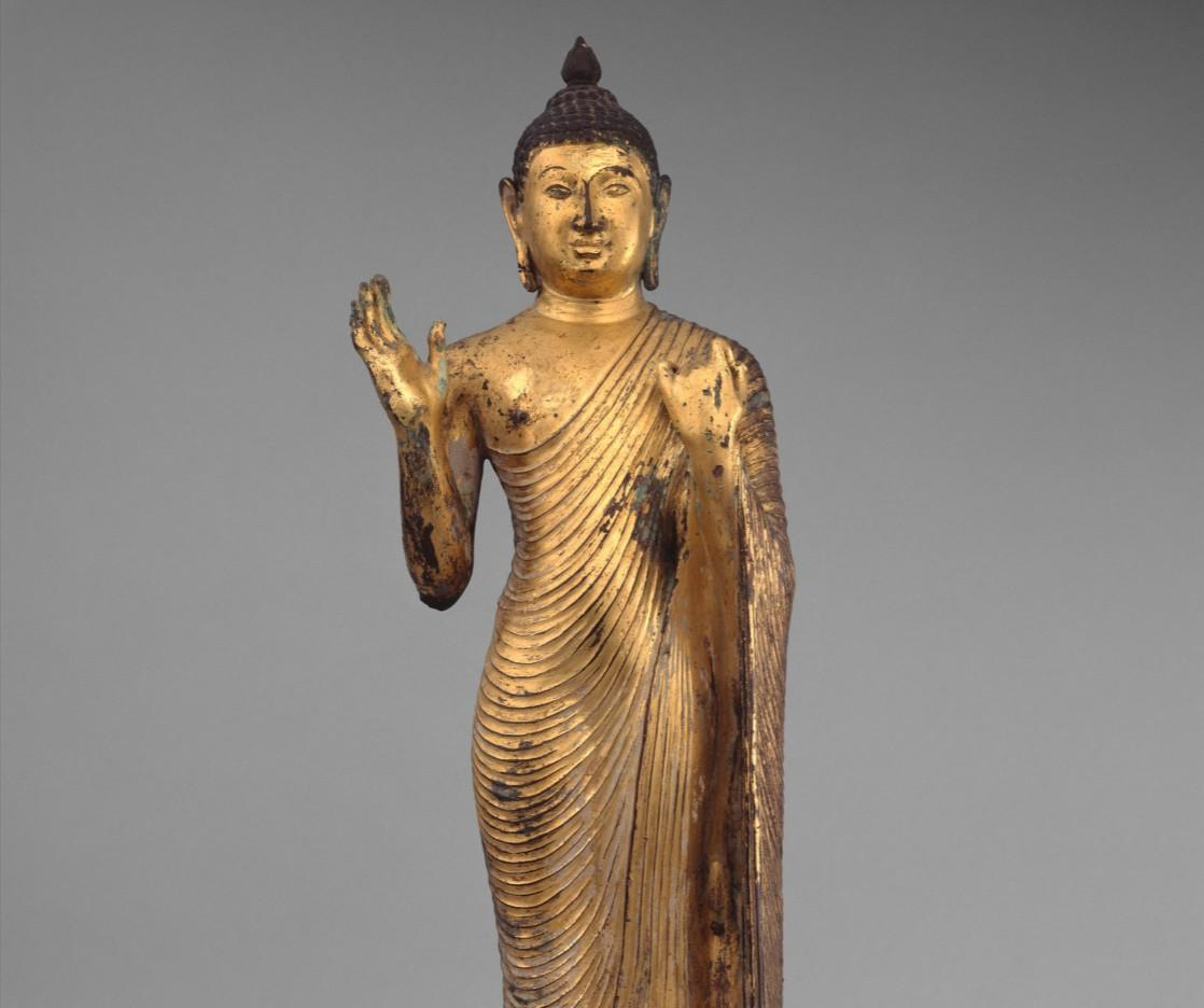Standing Buddha, 10th century, copper alloy with gilding