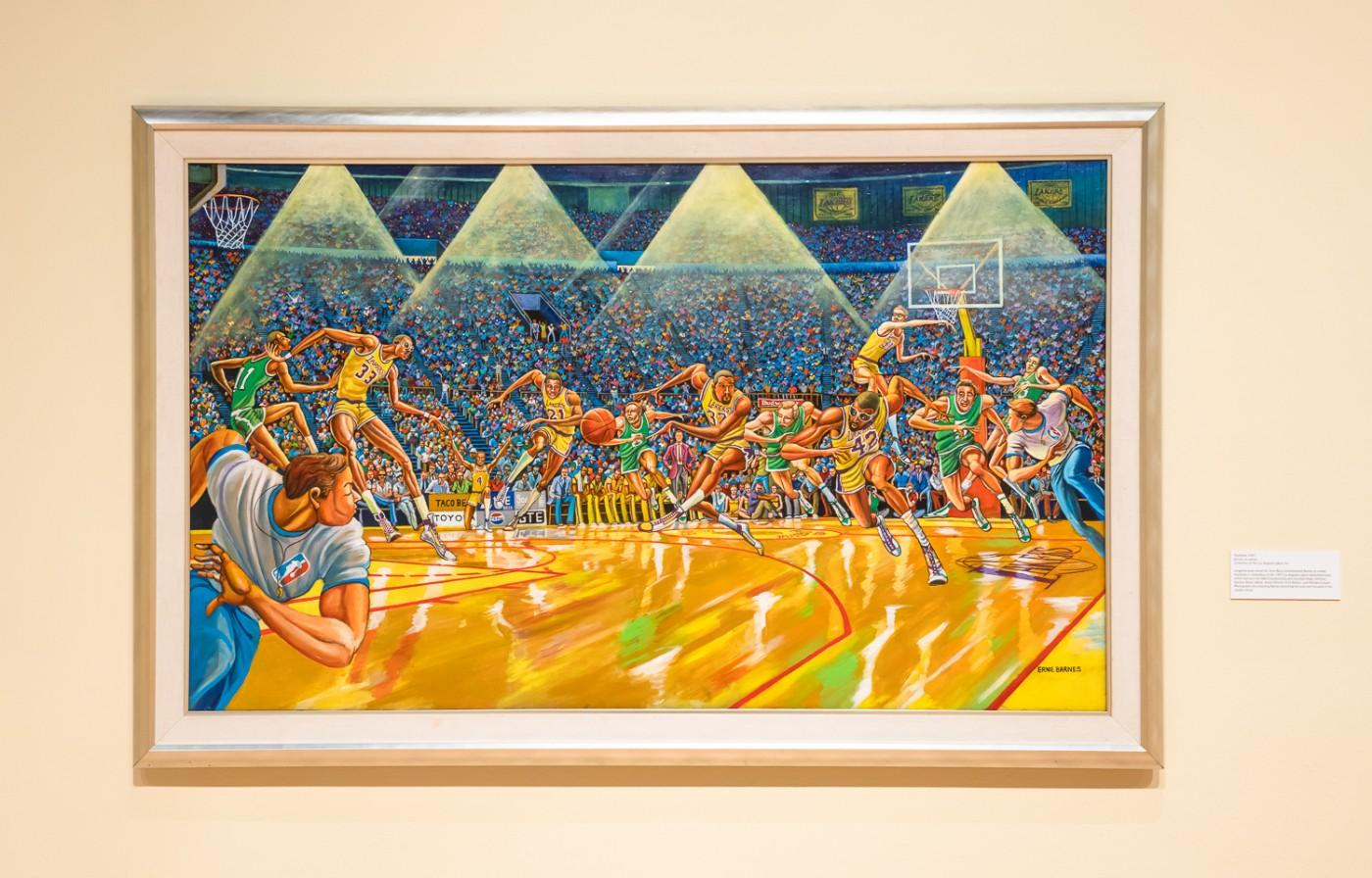 Ernie Barnes, Fastbreak, 1987. Acrylic on canvas. Collection of The Los Angeles Lakers, Inc.