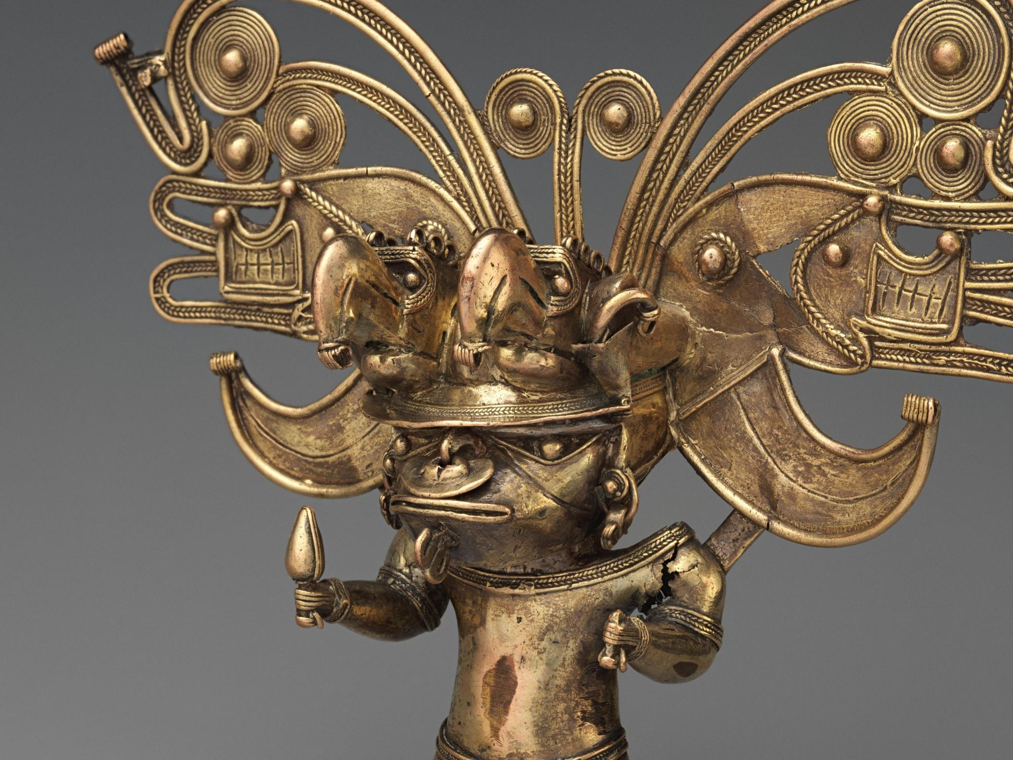 Figure pendant, Tairona, Colombia, 10th–16th century. Gold