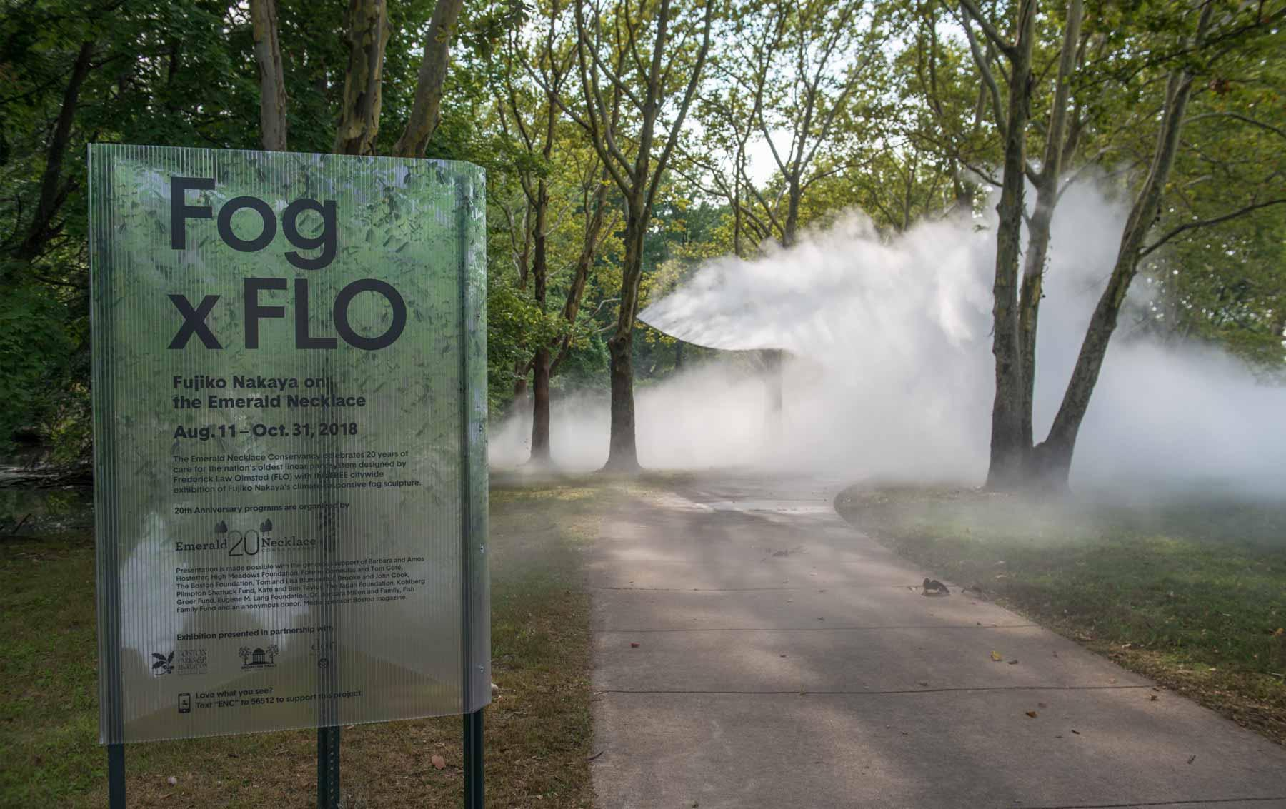 "The Fens signage of ""Fog x FLO's Fog x Canopy."""