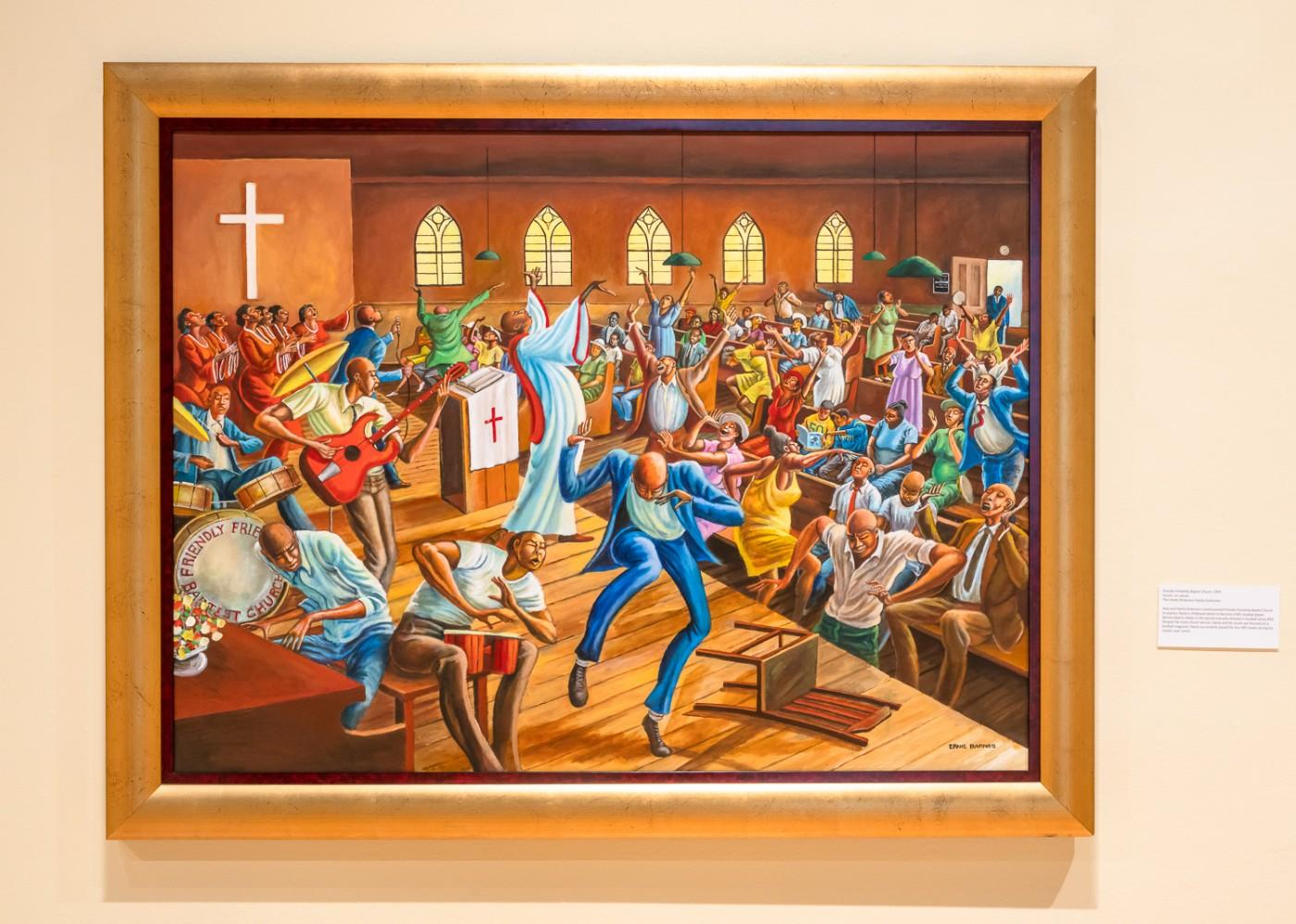 Ernie Barnes, Friendly Friendship Baptist Church, 1994. Acrylic on canvas. The Hardy Nickerson Family Collection.