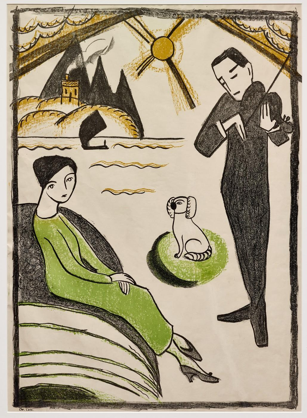 Gabriele Münter, Woman and Man with Dog, 1918