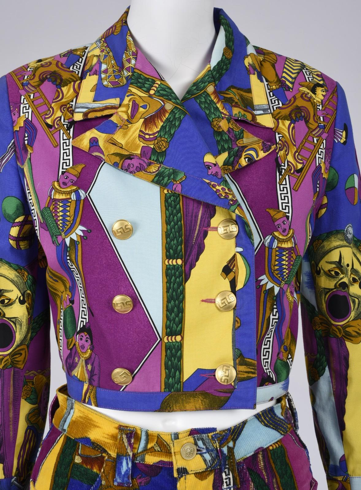 Gianni Versace, Day ensemble, ca. 1990s.Cotton twill, corduroy, purple and blue ornate pattern.