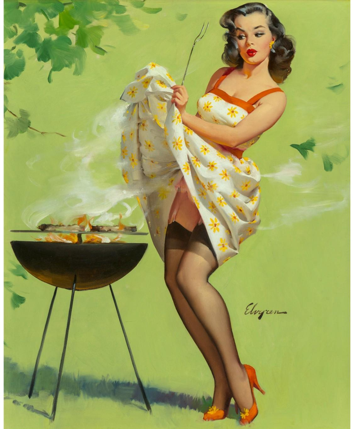 Gil Elvgren, Smoke Screen, 1958