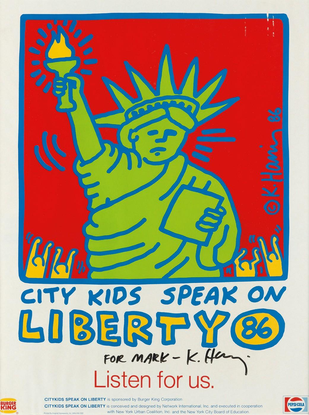 Keith Haring (1958-1990), City Kids Speak on Liberty, 1986