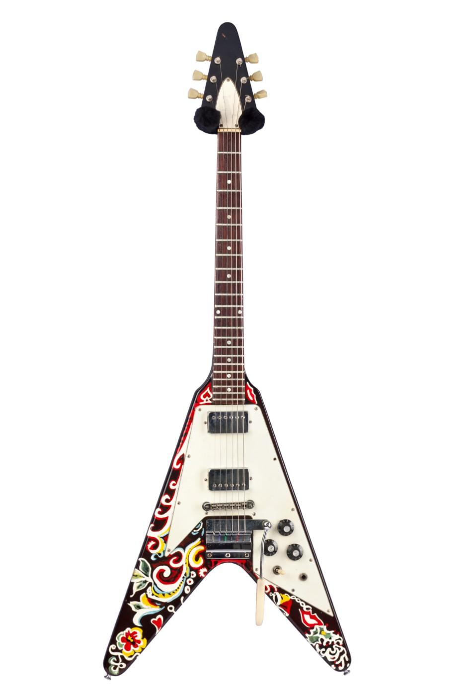 Jimi Hendrix owned and played this Gibson Flying V extensively from 1967 to 1969. Hendrix painted the instrument himself using nail polish.