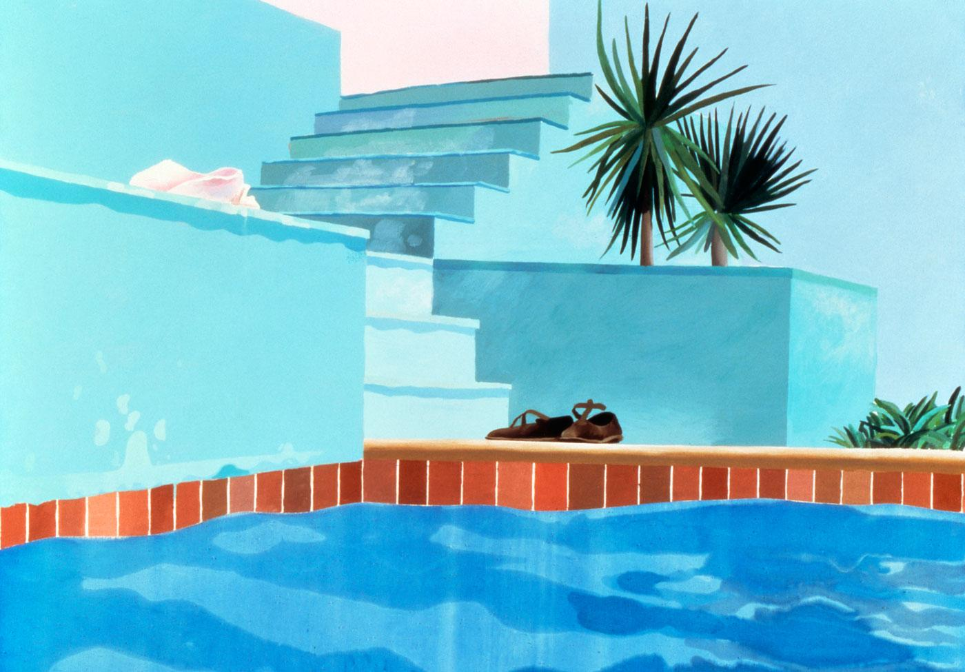 Pool and Steps, Le Nid du Duc by David Hockney, 1971.