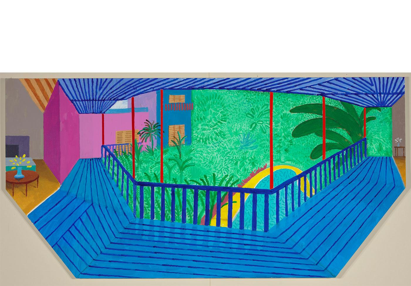 A Bigger Interior with Blue Terrace by David Hockney, 2017.