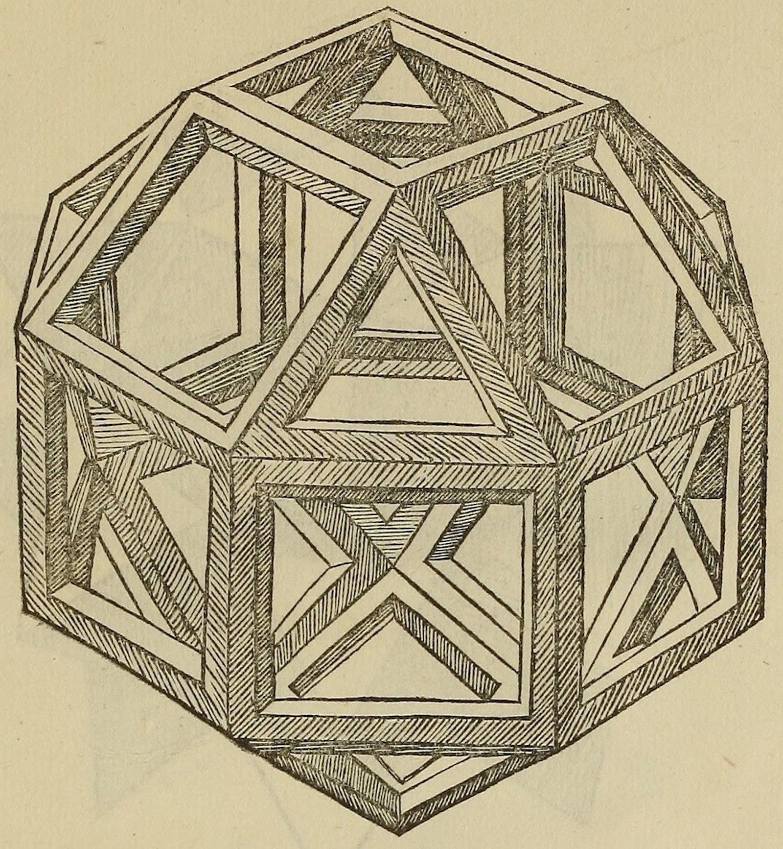 Geometric shape rendered as though it was constructed with bars in a hollow, cage-like fashion.
