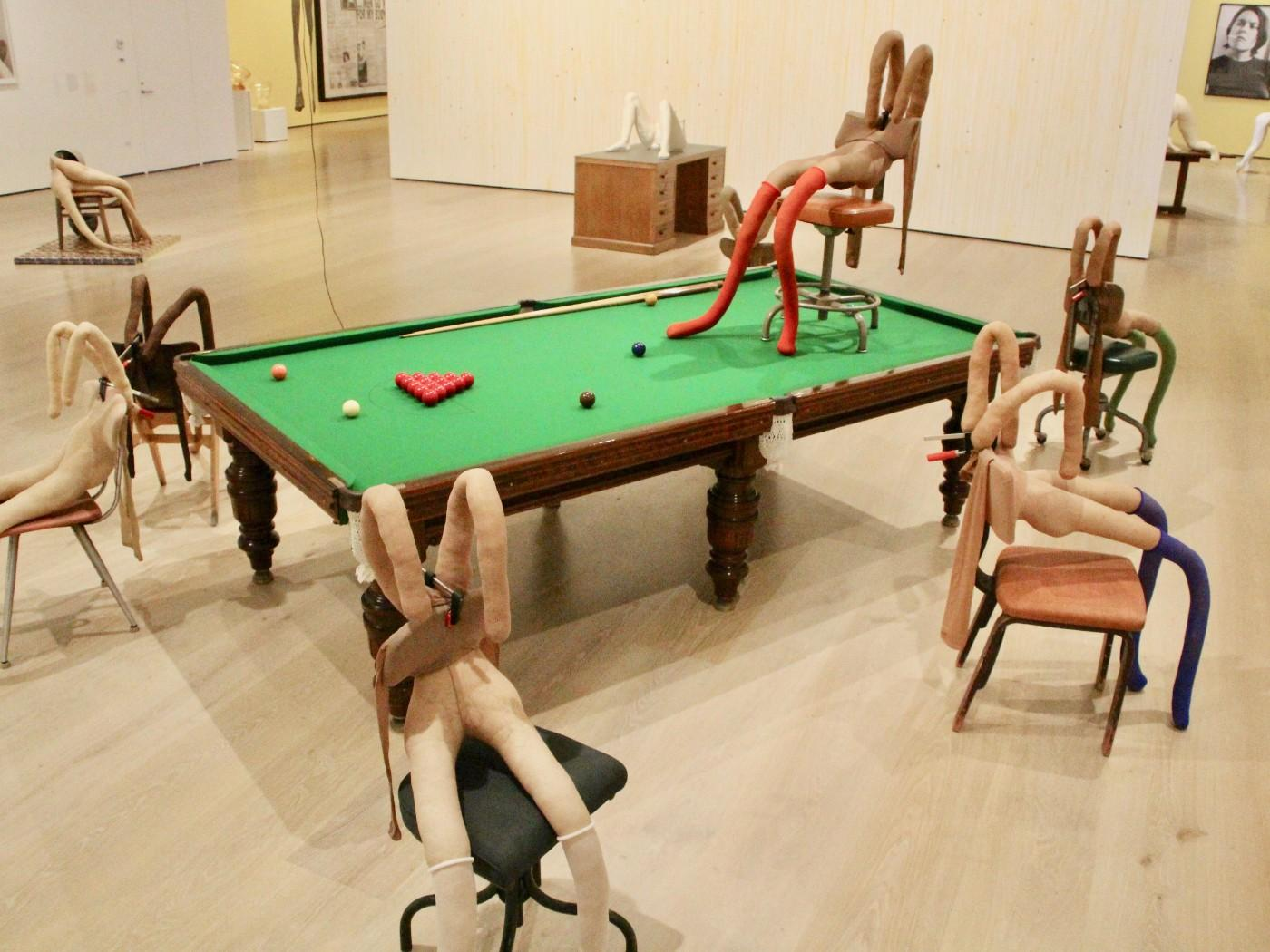 Installation view, Sarah Lucas: Au Naturel, at the Hammer Museum through September 1