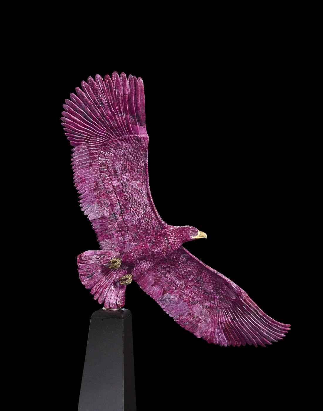 Impressive Ruby, Granite and Gold Eagle Sculpture by Luis Alberto Quispe Aparicio, Circa 2007, Lima, Peru (estimate: $25,000-35,000