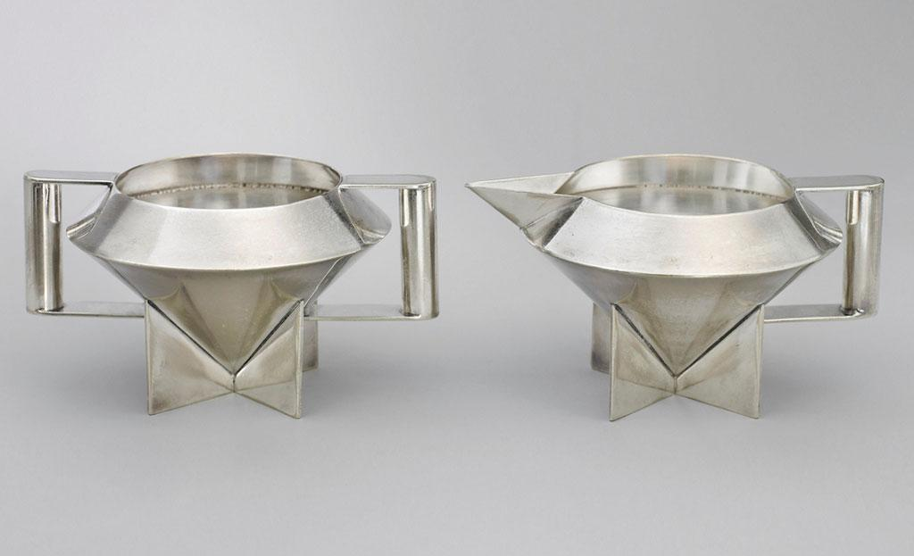 Sugar bowl and creamer, 1928, by Ilonka Karasz