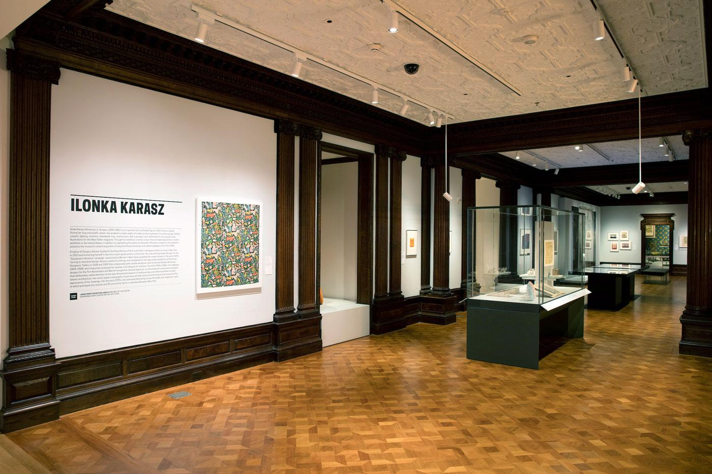 "Installation view of ""Ilonka Karasz, Works from the Collection."""
