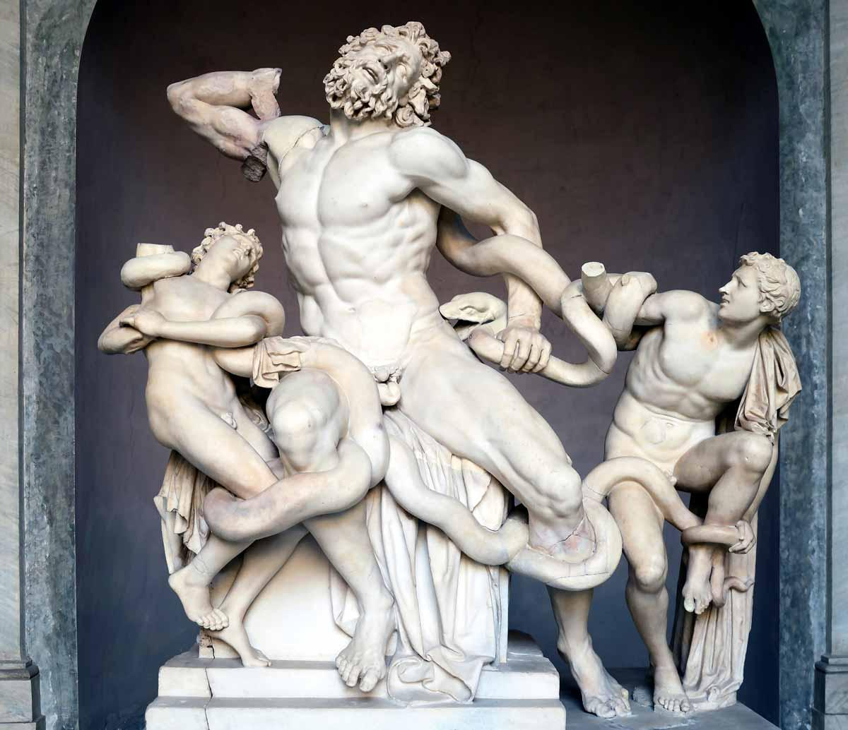 Laocoön and his sons, also known as the Laocoön Group. Marble, copy after an Hellenistic original from c. 200 BC. Found in the Baths of Trajan, 1506.