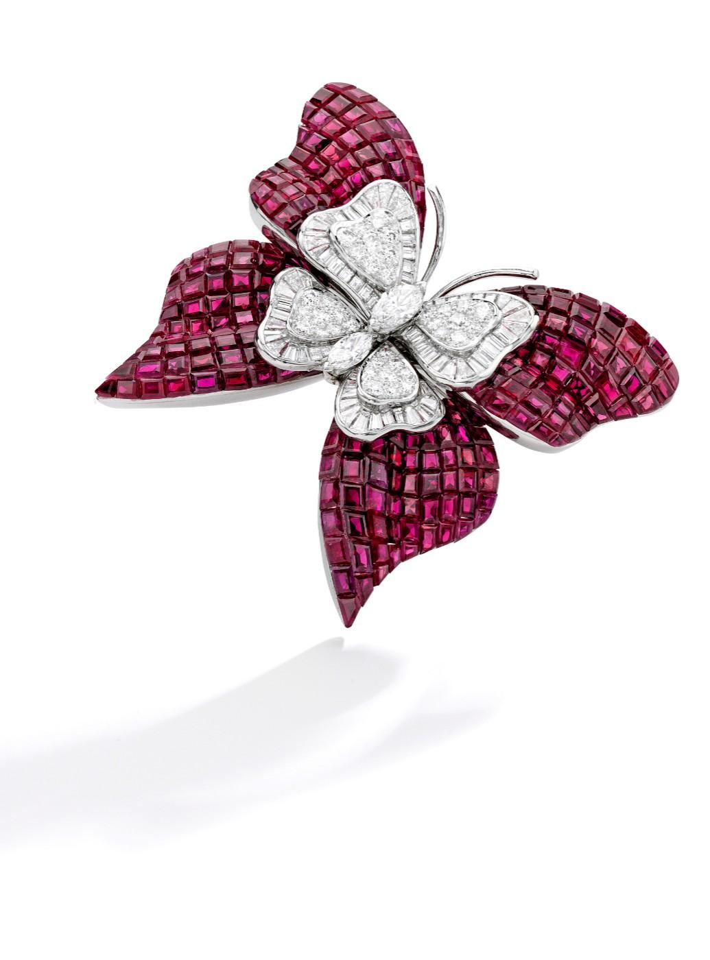 Mystery-Set Ruby and Diamond Butterfly Brooch by Van Cleef & Arpels