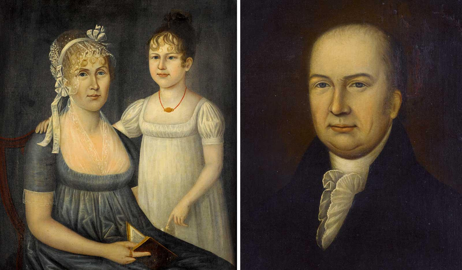 Dr. Andrew Aitkin (1757-1809), Mrs. Andrew Aitkin (Elizabeth Aiken, 1761-1811) and her daughter, Eliza Aitkin (1798-1885),