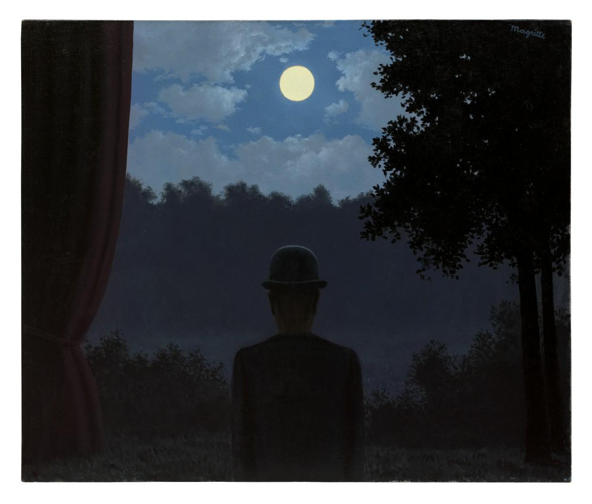 Rene Magritte painting of a man in a bowler hat silhouetted against trees at night with a full moon above