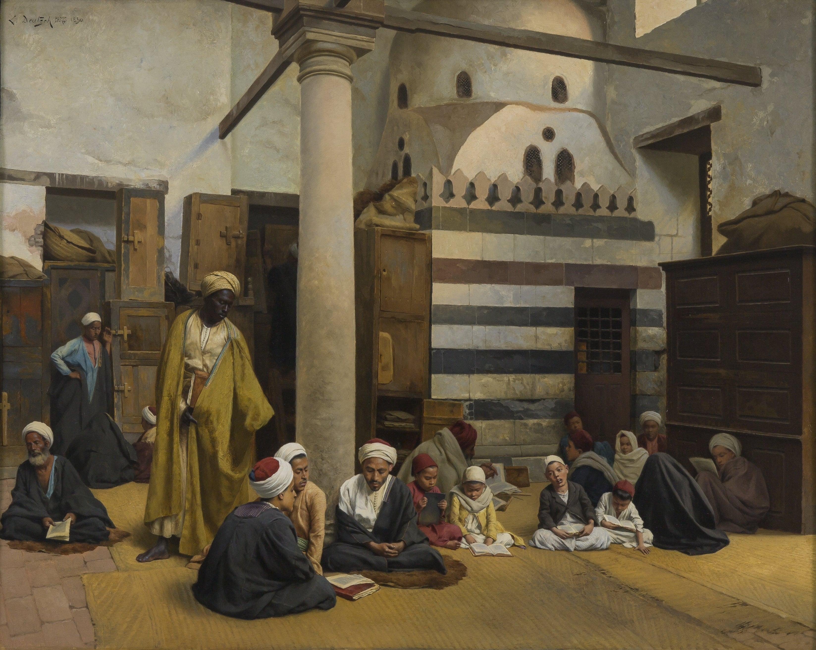 Ludwig Deutsch (1855–1935), In the Madrasa, 1890. Oil on panel.