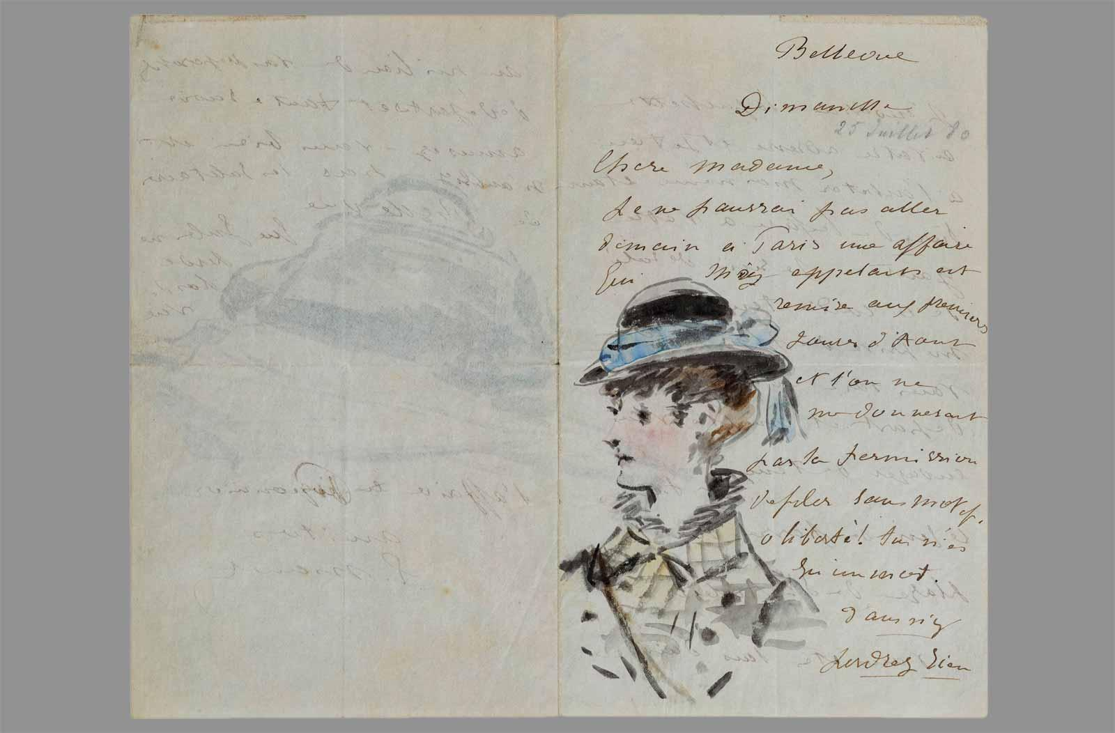 Édouard Manet. Letter to Madame Jules Guillemet, Decorated with a Portrait and a Still Life of a Bag and a Parasol, July 1880.