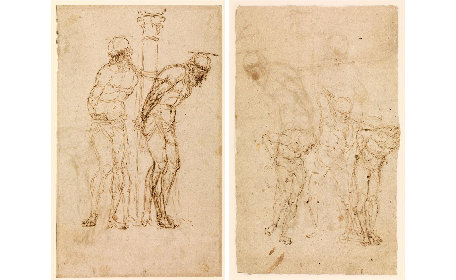 Studies for Christ at the Column (recto / verso) by Andrea Mantegna.