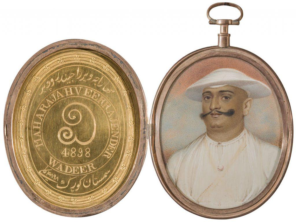 miniature portrait of Dodda Vira Raja (or, Vira Rajendra Wodeyar), Ruler of Coorg 1780-1809, c. 1787. Watercolor on ivory