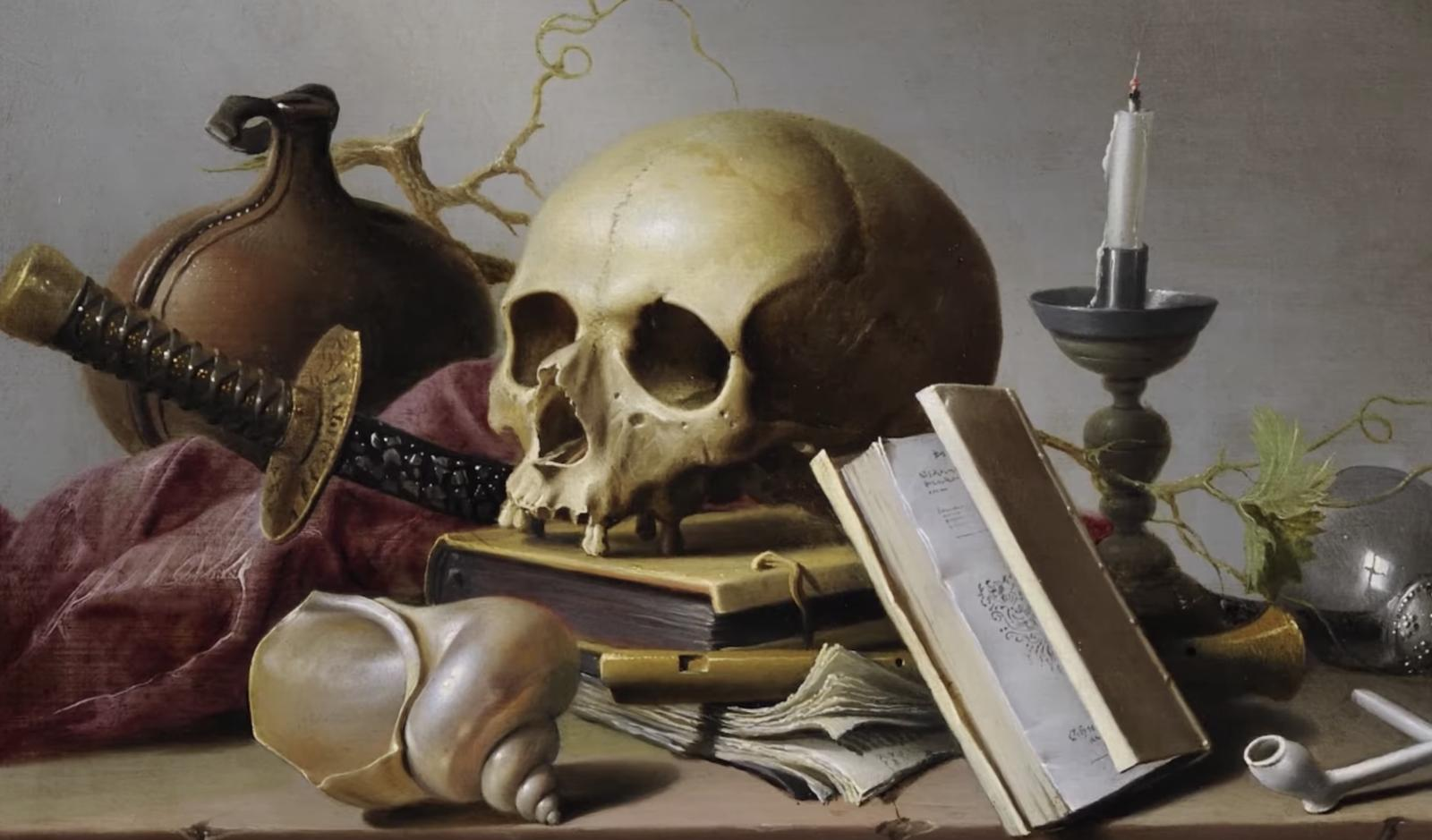 Momento Mori painting with skull