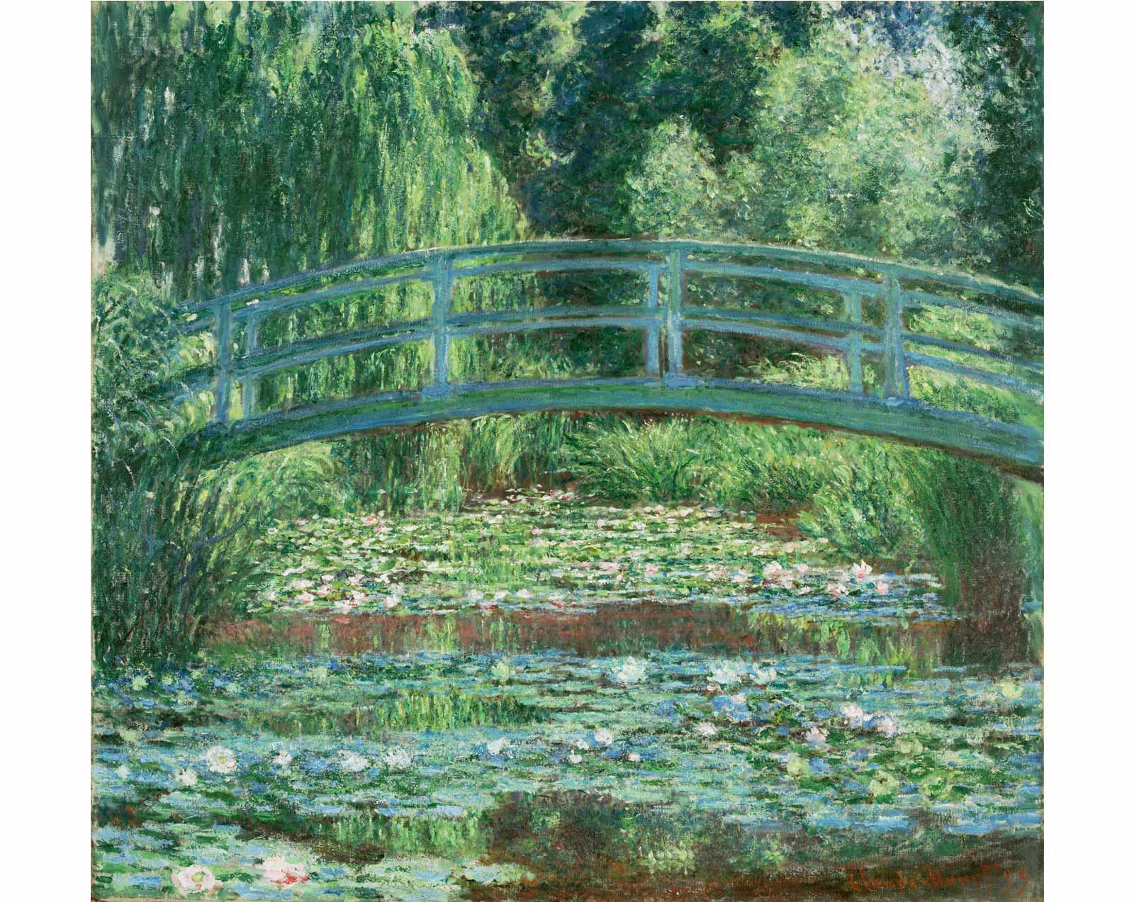 Japanese Footbridge and the Water Lily Pool, Giverny, 1899, by Claude Monet.