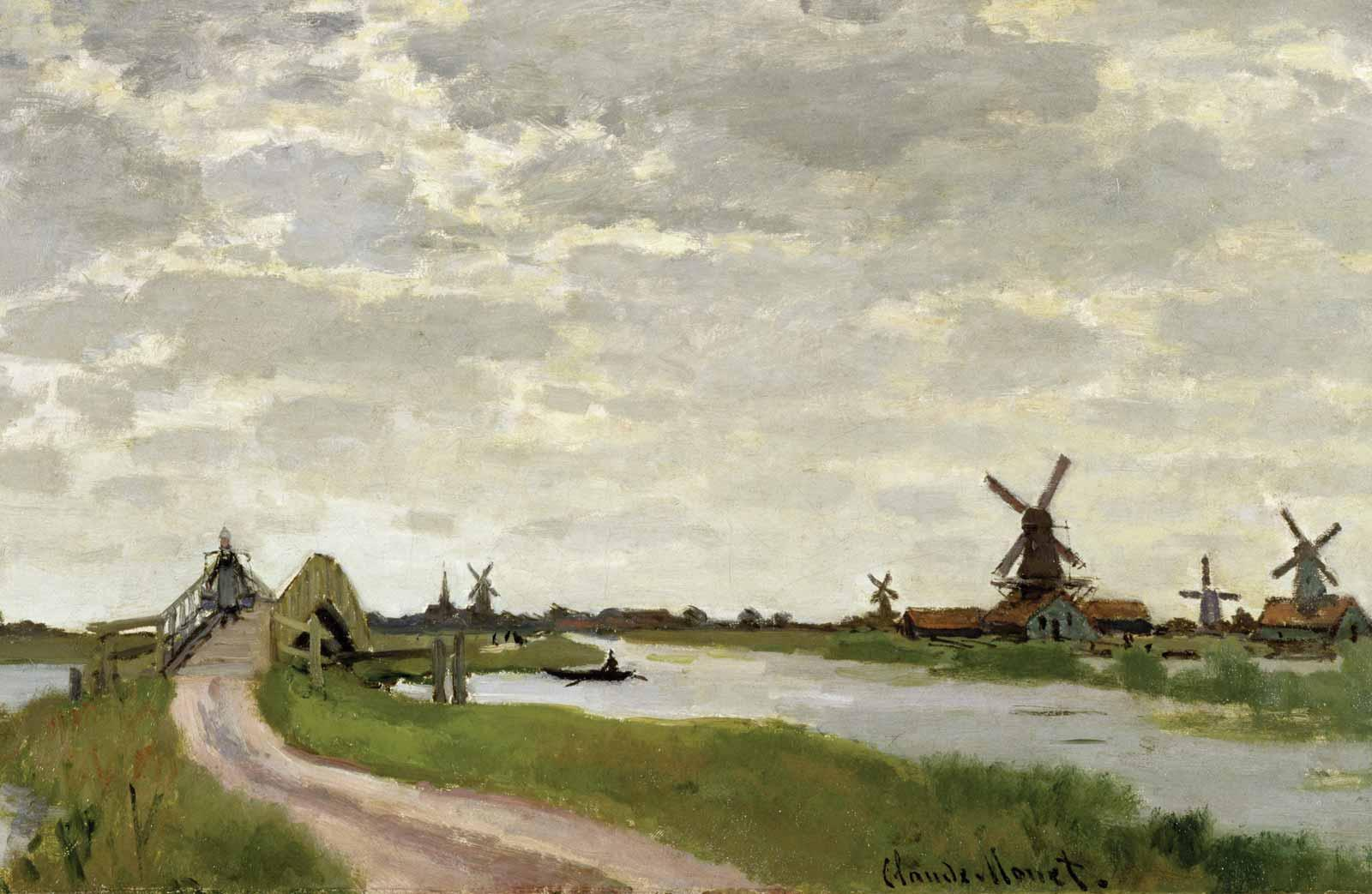 Claude Monet, Windmills near Zaandam, 1871.
