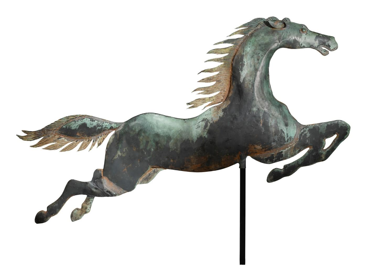 Flying Horse, American School, circa 1860, Boston, Massachusetts, molded and sheet copper weathervane