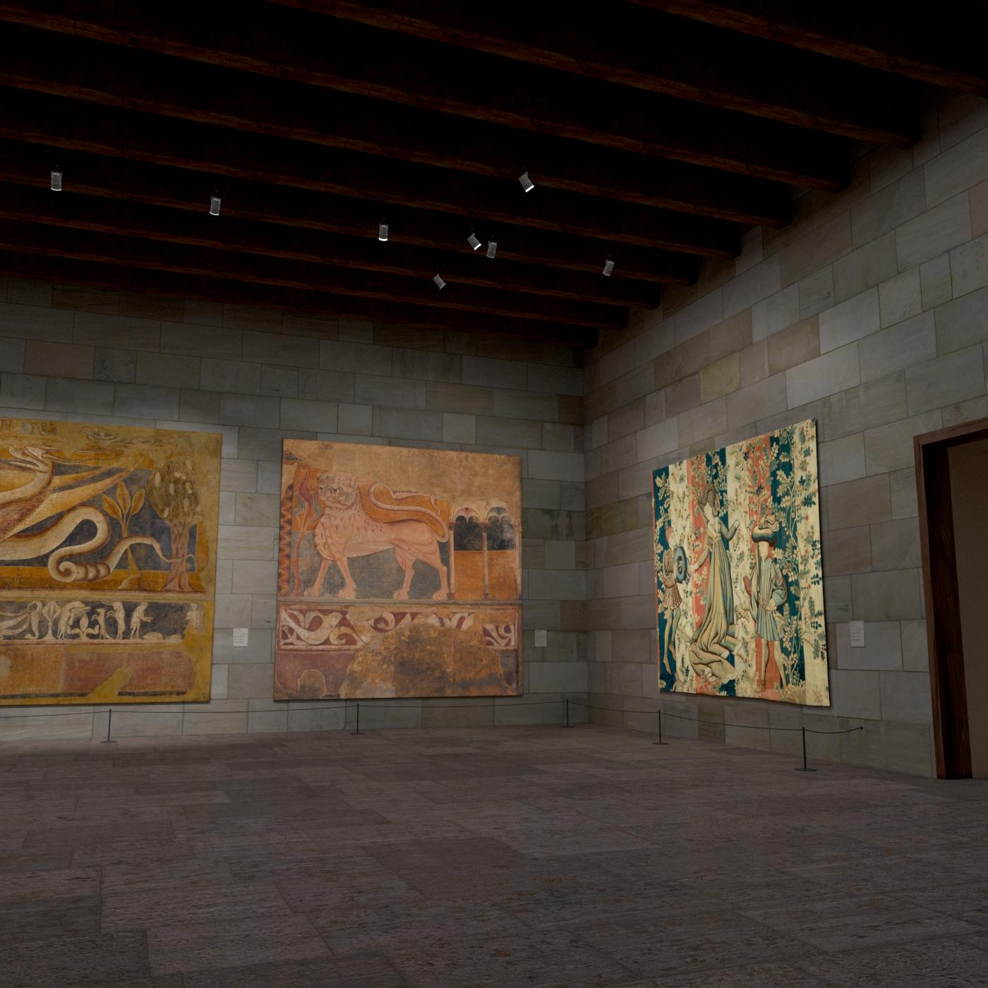 Digitally rendered view of The Met Cloisters, gallery 1. The room made of large stone and frescos of large creatures are on display.