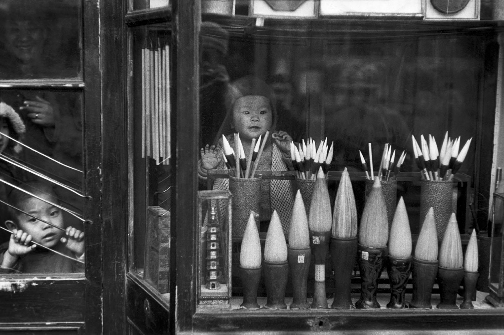 The window display of a brush merchant in the antique dealers' street, Beijing, December 1948.