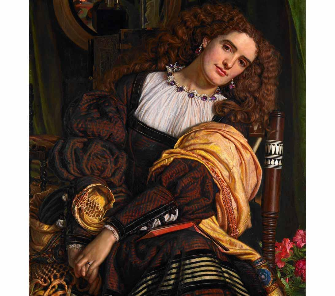 Annie Miller is the model in Il Dolce far Niente by William Holman Hunt, 1866