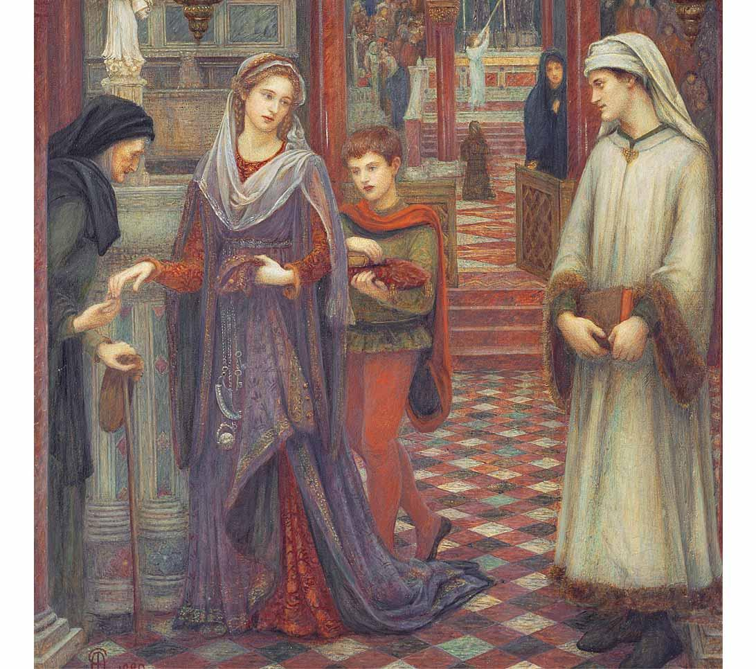 The First Meeting of Petrarch and Laura by Marie Spartali Stillman, 1889.