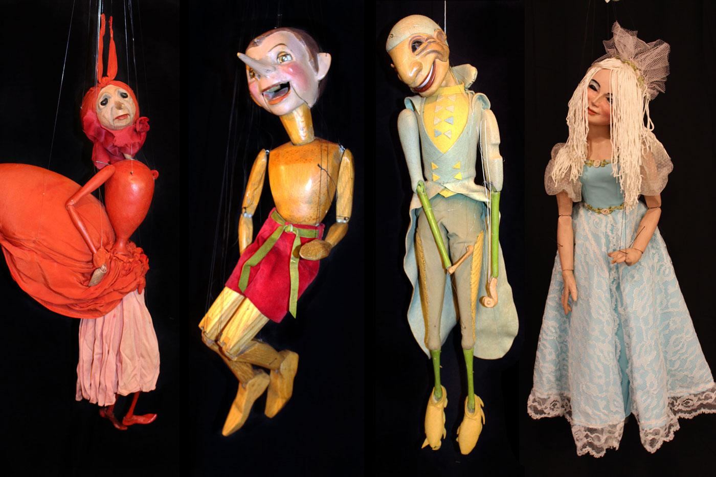"Puppet cast from ""The Ant and the Grasshopper."""