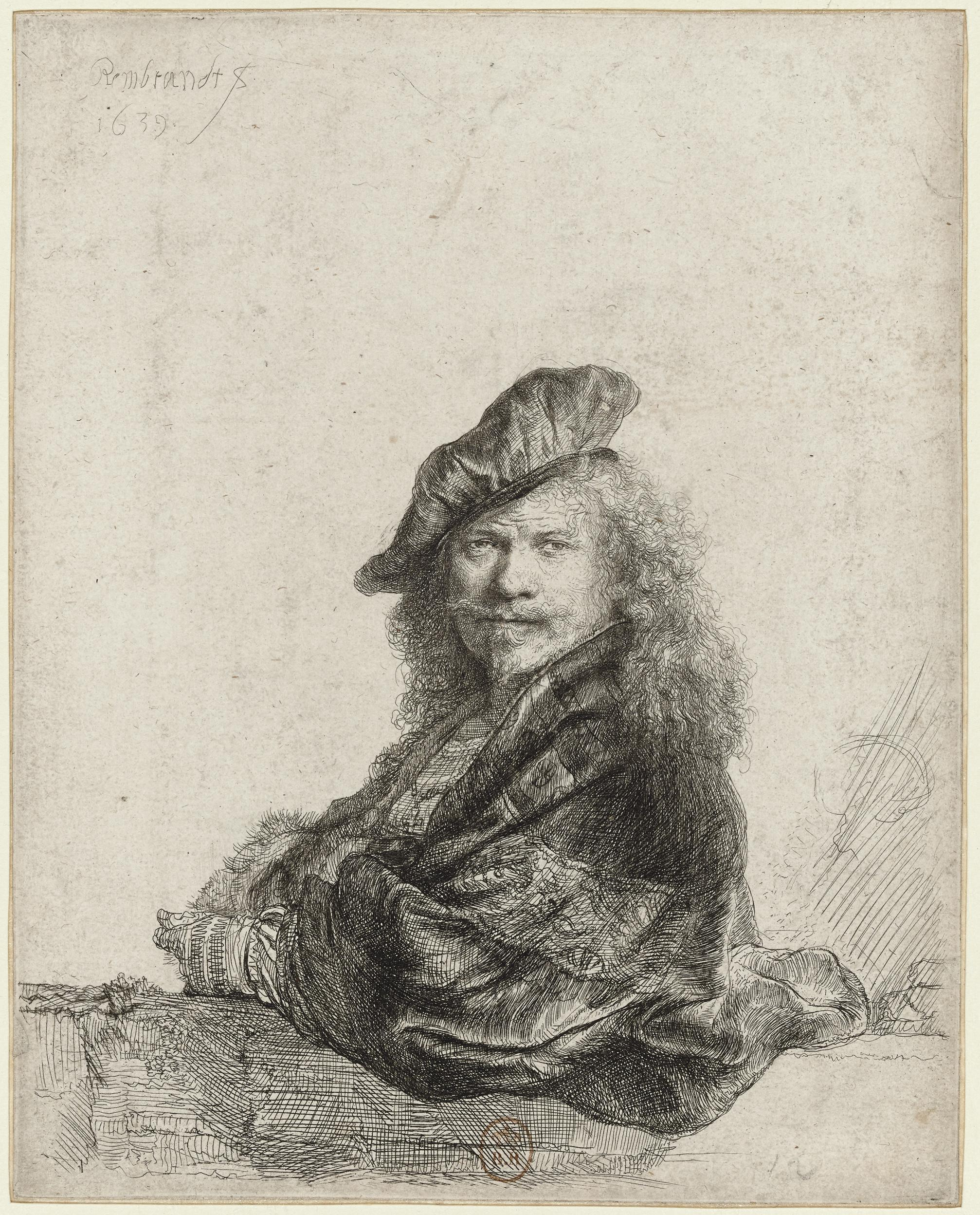 Rembrandt van Rijn, Self-Portrait Leaning on a Stone Sill, 1639