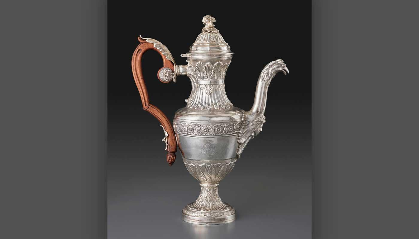Coffee Pot with the Chigi Coat of Arms, 1777. Silver.